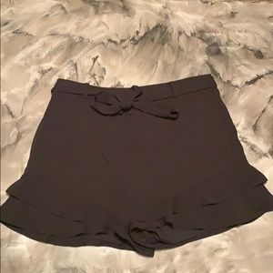 High Waisted Flowy Black Shorts with Front Tie